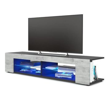 57 Inch Portable Detachable TV Stand Two Unit Cabinet Console With LED Light Shelves For Living Room US Shipping