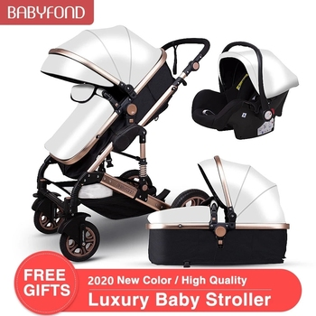 Babyfond Baby Stroller 3 in 1 High Landscape Baby Cart PU Leather Stroller With Car Seat 2 in 1 Luxury Baby Stroller CE Safety image