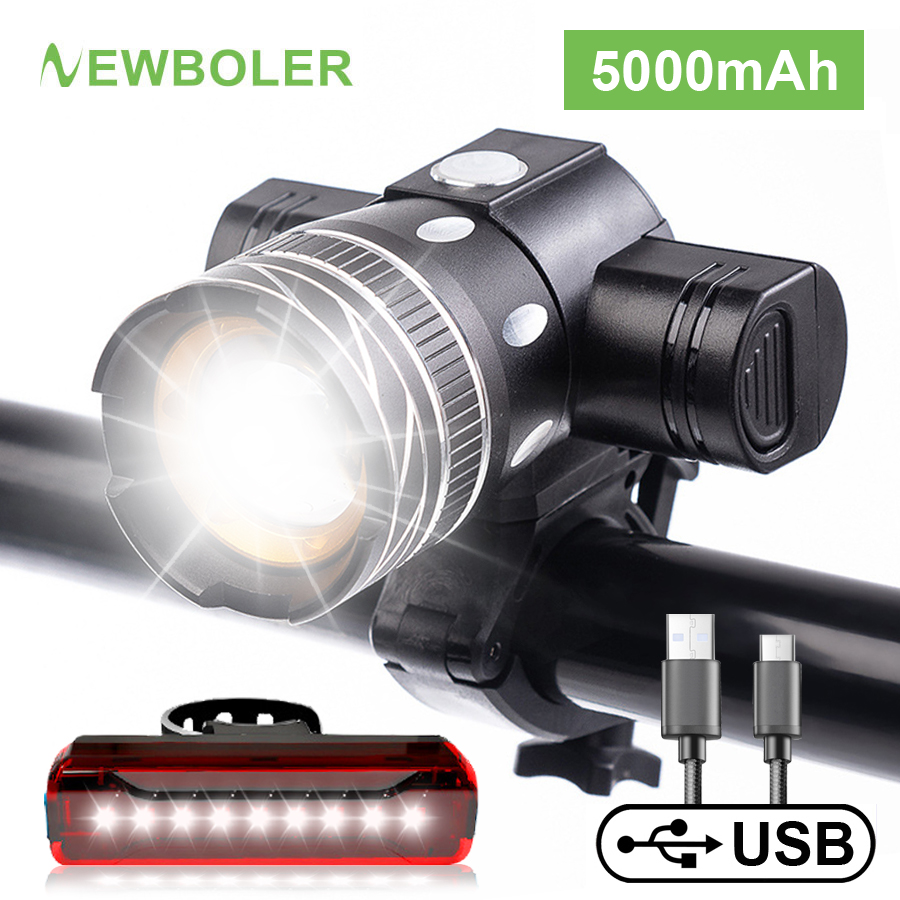 NEWBOLER 5000mAh Bicycle Light 800 Lumen T6 led Bike Headlight Zoom USB Rechargeable Aluminum Alloy Upgrade Mount Bike Accessory