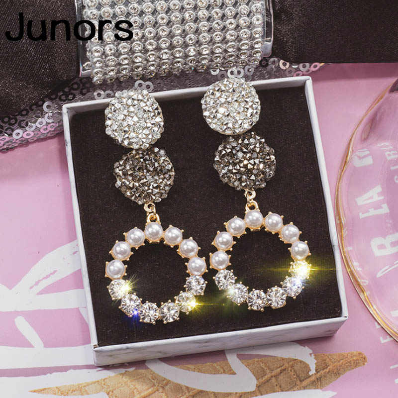Exaggerated earrings female personality super flash pearl earrings gold silver earrings for women fashion temperament earrings