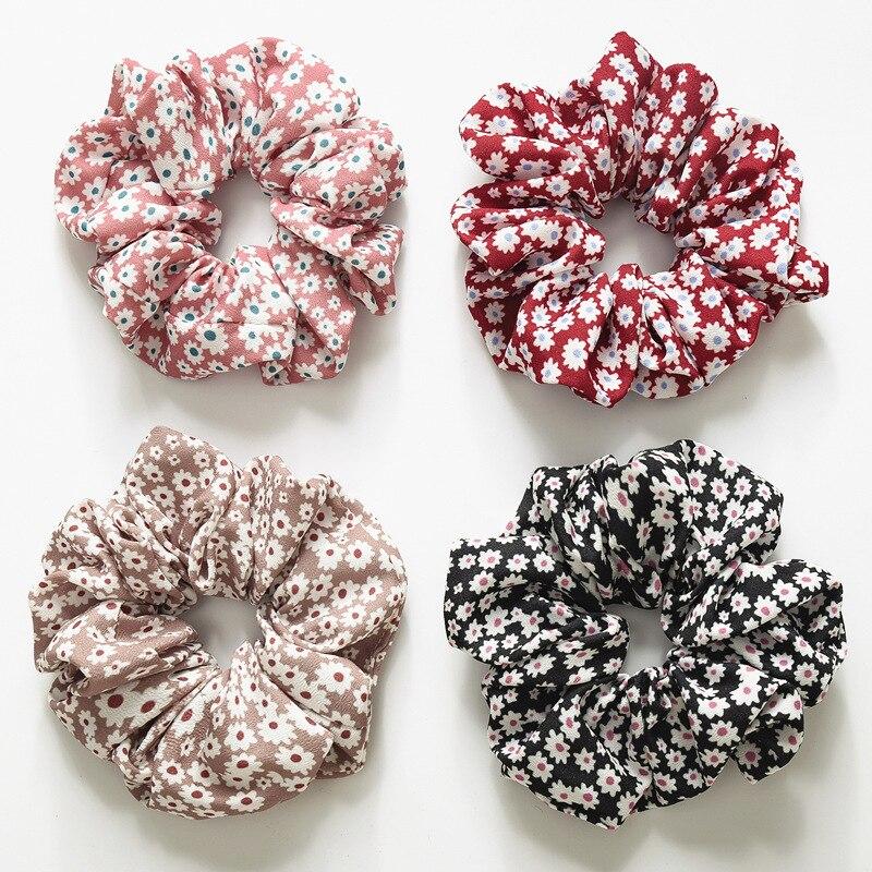 Floral Rubber Hair Ties Elastic Hair Bands Flower Ponytail Holder Cute Hair Scrunchies Women Summer Hair Accessories