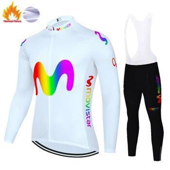 Movistar-jersey de ciclismo para invierno, pantalones con tirantes de lana térmica, maillot...