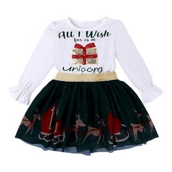Baby ChristmSets Infant Girls Festival Costume Letter Print Cotton Tshirts + Cartoon Deer Dress 2Pcs Sets Kids Outfits M522 1