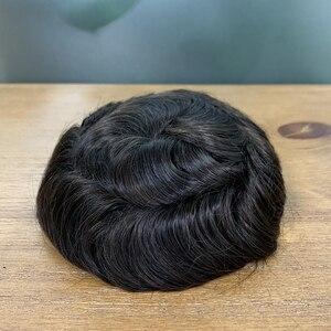 Мужские швейцарские парики s Toupee из кружева и искусственной кожи, системы замена волос, Мужские t-системы, парик ручной работы, натуральные в...