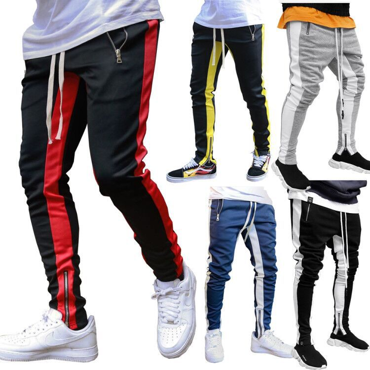 Motorcycle Pants Casual Trousers Men's Beam Feet Pants Leggings Double Pocket Zipper Sports Cycling Trousers Autumn And Winter