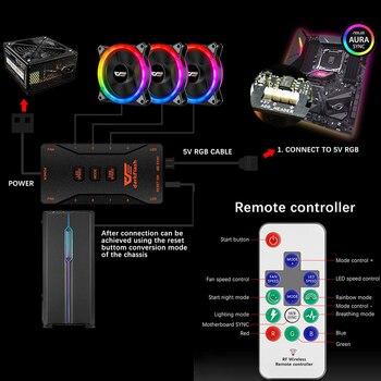 DarkFlash-ventilador DR12 Pro para PC, Enfriador de CPU silencioso de 120mm, AURA SYNC 5V/3 pines,  3
