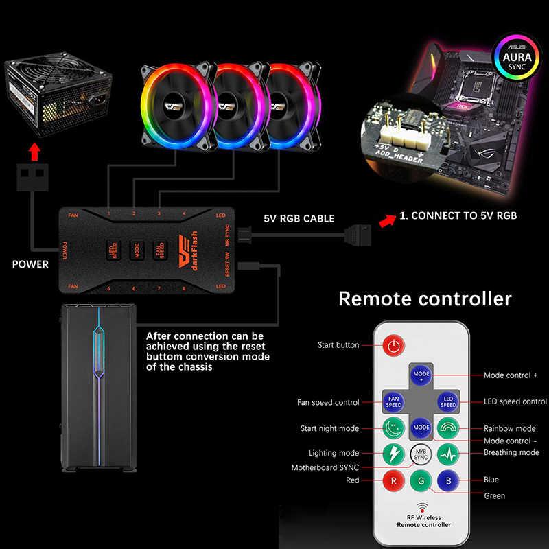 DarkFlash DR12 Pro PC przypadku wentylatora RGB 120mm AURA synchronizacji 5V/3pin cichy wentylator do procesora PC wentylator obudowy kontroler RGB 6 Pin CPU chłodnicy