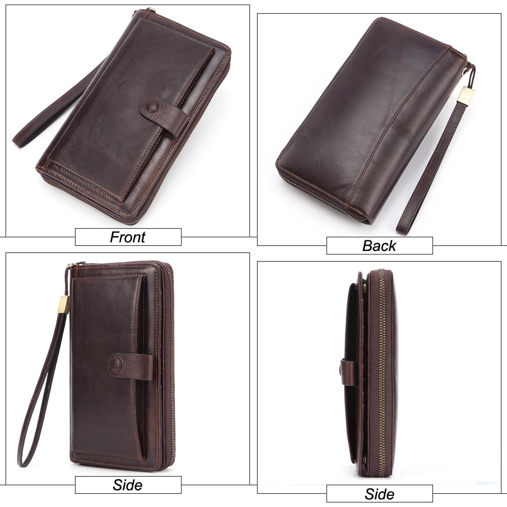 Image 4 - Banlosen Men Cowhide Clutch Wallets Genuine Leather Long Purses  Business Large Capacity Wallet Double Zipper Phone Bag For MaleWallets