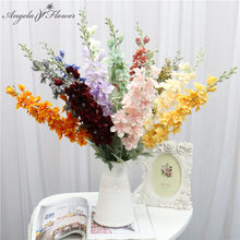 Bouquet d'orchidées violettes delphinium de 87 cm bricolage fleurs artificielles en soie jacinthe continental, décoration de mariage maison fête de noël