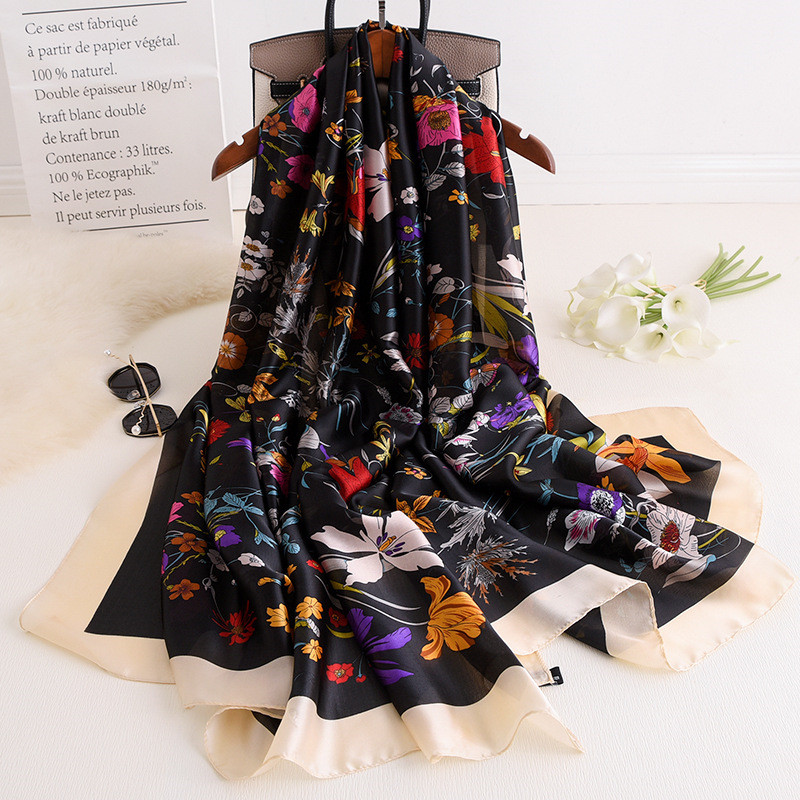 New Style Chinese Classic Silk Spring And Autumn Ladies Beach Beautiful Silk Headscarf Women Fashion Scarf Popular Print Shawl