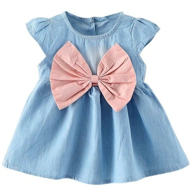 Cute Little Baby Girl Wearing Bow Design Mini Child Baby Cowboy Dress A Baby Wear Short Sleeved Summer Style Fashion Party
