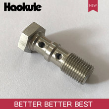 Haokule Stainless Steel DOUBLE BANJO BOLTS M10*1.0 Hose End M10*1.0 TEFLON PTFE HOSE END FITTING  BRAKE SYSTEM FITTINGS