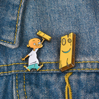 Cartoon Plank and Ed Enamel Pin Cool Boy Brooch Cartoon Character Brooches Lapel Pin Badge Jewelry Children Friends Unisex Gift image