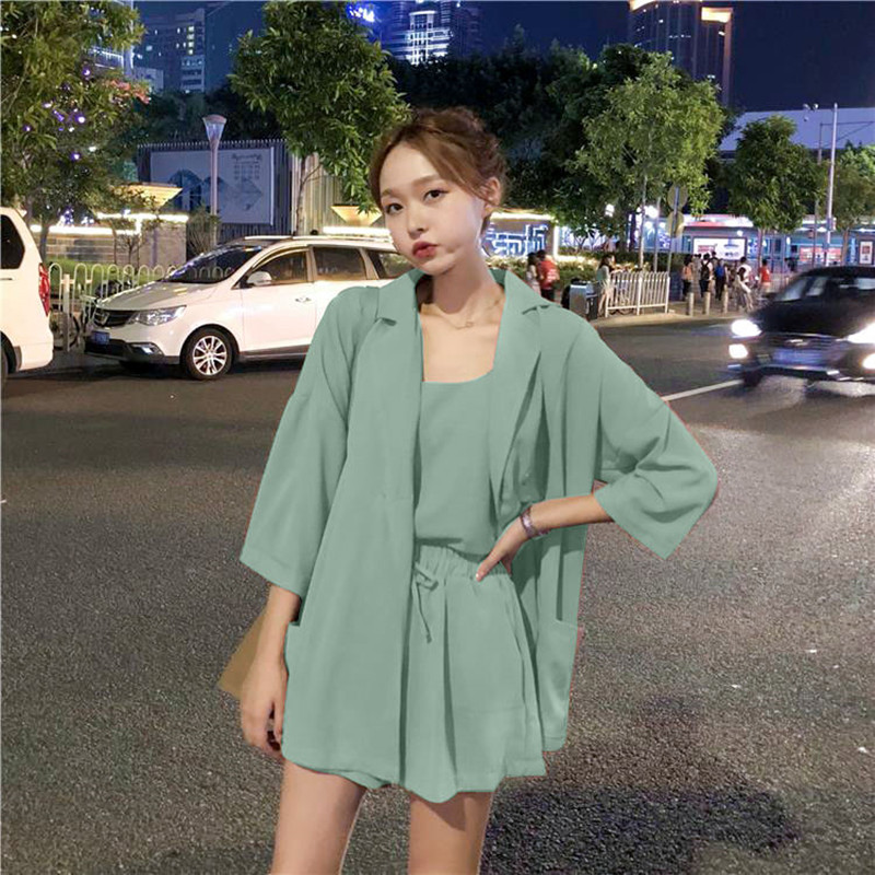 3 Piece Set Women Suits Long Sleeve Coats Elastic High Waist Drawstring Shorts Suit 2020 Summer Spring Office Lady  Solid Set