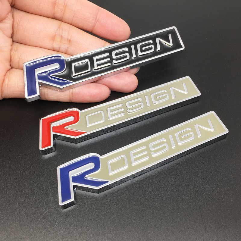 3d metal r design logotipo adesivo emblema emblema decalque para volvo r design xc90 s60 cx60 s80 v40 s40 v60 v90 tronco traseiro estilo do carro