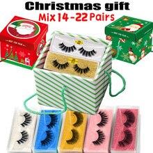 MB Christmas Box 14/22 Pairs Lashes Wholesale 3D Mink Eyelashes Soft Dramatic Thick Long Eye Lashes Naturel Eyelash Makeup Gift