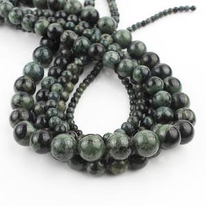 Натуральный камень темно-зеленый малахитовый Бисер Круглые свободные бусины для самостоятельного изготовления ювелирных изделий Аксессу...