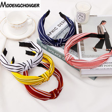 Fashion Stripe head Hoop girls Korean Edition knotted Fabric Hair hoop women hair accessory