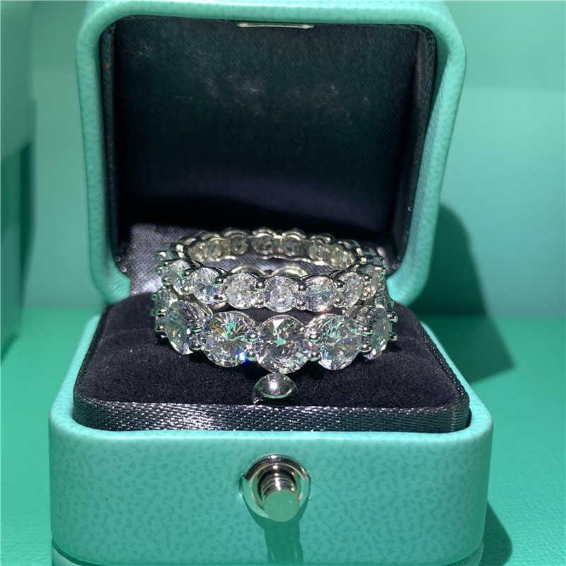 Eternity Promise ring 925 Sterling Silver corte Redondo 4/6MM 5A Sona De Noivado cz Anéis da Faixa Do Casamento para mulheres homens Dedo Jóias