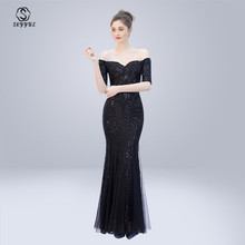 Skyyue Evening Dress Sexy Boat neck Women Party Dresses backless Zipper Robe De Soiree 2019 half-sleeve Sequin Formal Gowns C297
