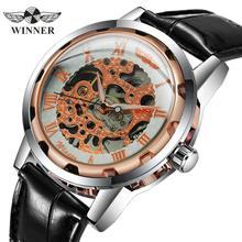 Часы скелетоны WINNER мужские/женские механические с кожаным ремешком