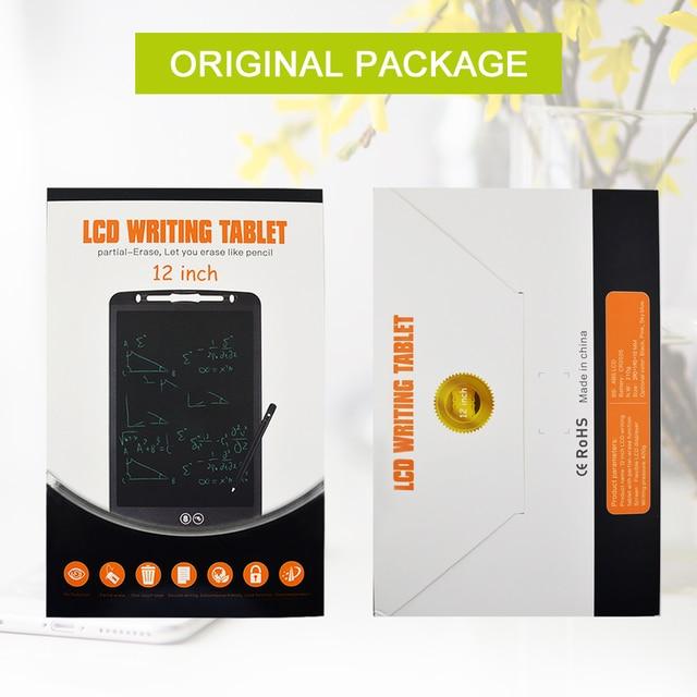 CHIPAL tableta de escritura LCD de 12 pulgadas, pizarra de dibujo parcialmente borrable, pluma gruesa electrónica, almohadillas resaltadoras, Tabletas digitales + batería