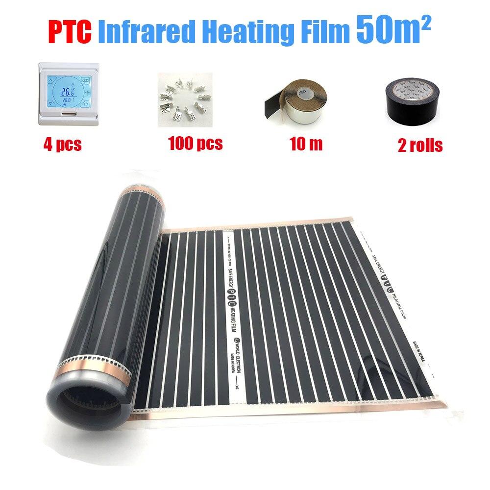 Korea's Carbon Heating Film PTC Floor Heating Film Confortable And Healthy Warm Floor For Kids Wifi Temperature Controller 100m