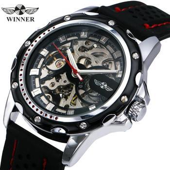 цена WINNER Official New Fashion Men Automatic Mechanical Watches Luxury Brand Skeleton Luminous Hands Rubber Strap Sport Clock Male онлайн в 2017 году