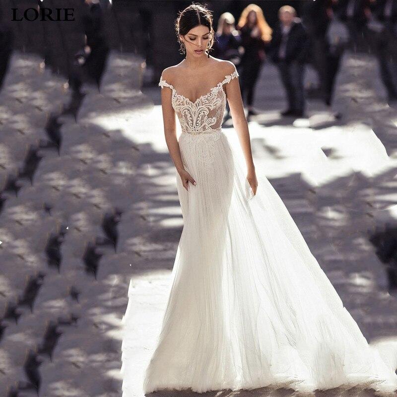 LORIE Lace Wedding Dress 2019 Vestidos De Novia Off The Shoulder Princess Bride Dresses Sexy Backless Wedding Gowns