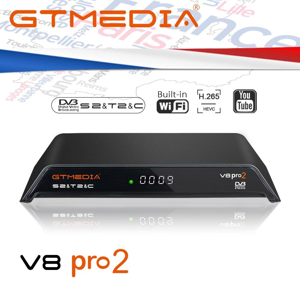 GTmedia V8 PRO2 TV Receptor de Satélite 1080P DVB-T2/S2/Cabo/S2X CCcam Cline Espanha Atualização GTmedia v8 Nova V9 Super suporte iptv