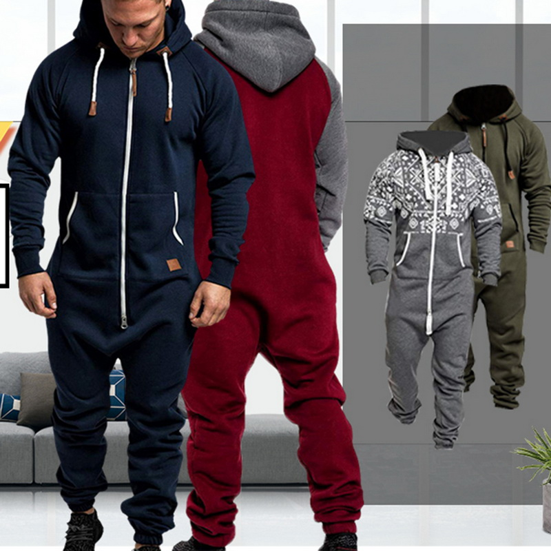 Jumpsuit Male Hoodies Overalls Streetwear Zipper One-Piece Men's Pure-Color Splicing title=