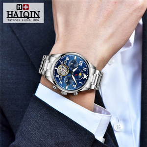 Image 2 - HAIQIN Mechanical Mens watches top brand luxury watch men Business Military wristwatch men Tourbillon Fashion 2019 reloj hombres