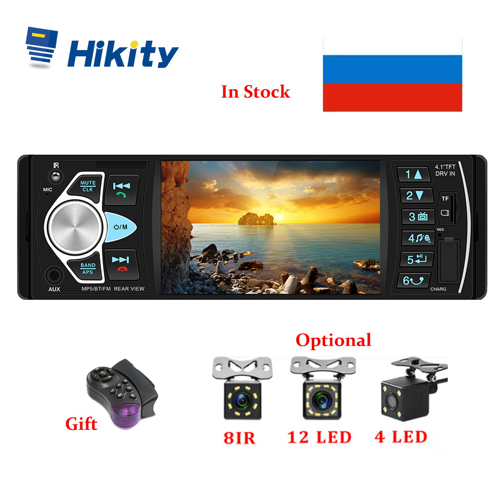 Hikity Car Radio 1 din 4022d FM radio car Auto Audio Stereo Bluetooth Autoradio Support Rear view Camera Steering Wheel Contral image