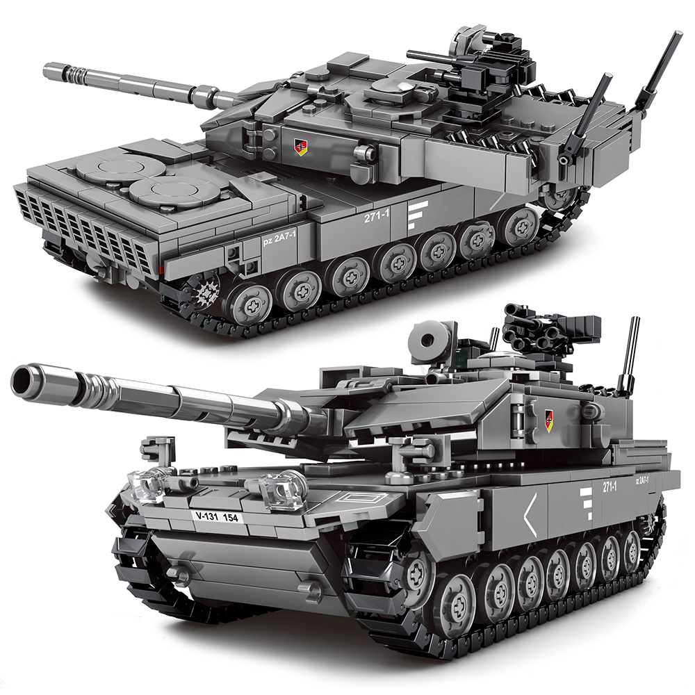 Military M1A2 T-14 Leopard 2A7+ Main Battle Tank Building Blocks WW2 with Soldiers Figures Army Bricks Boy Toys For Children