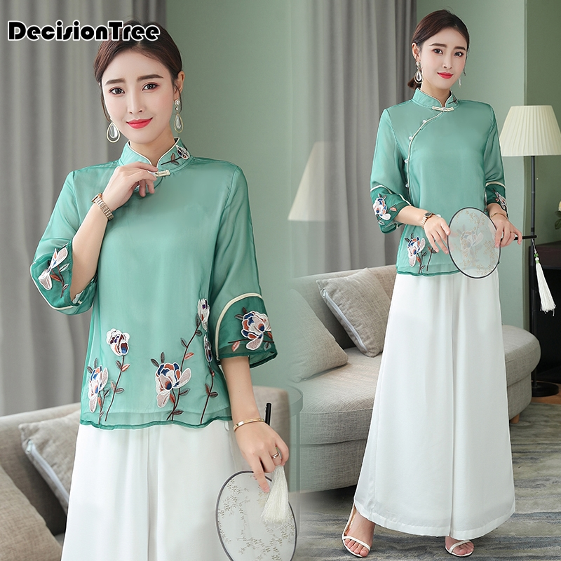 2019 Traditional Chinese Blouse Qipao China Cheongsam Tops Flower Embroidery Cheongsam Style Shirt Chinese Blouse For Ladies
