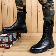 Big Size 38-49 Boots Men Outdoor Mens Shoes Casual High Top Martin Boots Ankle Men Shoes Genuine Leather Motorcycle Work Boots(China)