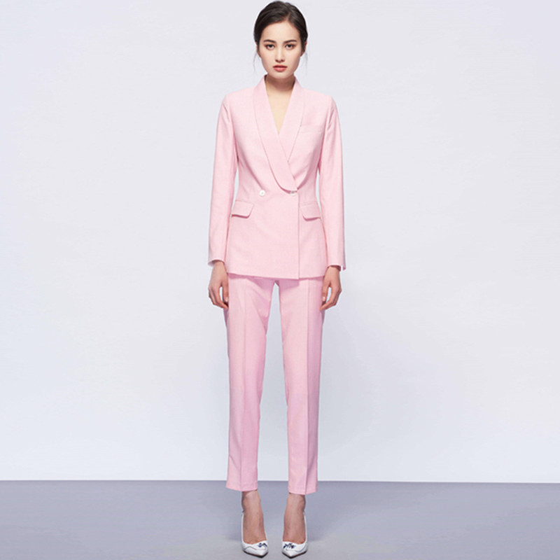 Casual Solid Women Pant Suits Sets Notched Collar Blazer Jacket Pencil Pants Female Spring Autumn 2020 High Quality Office Wear