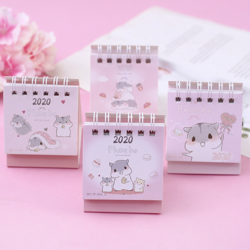 2020 Cute Hamster And Friends Calendar DIY Portable Mini Desk Calendars Daily Schedule Planner 2019.09-2020.12