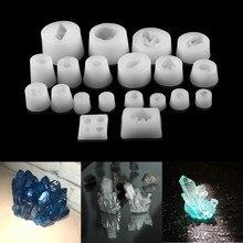 20 Styles clair minerai cristal Cluster résine époxy moules diverses formes Spar pour résine époxy moulage moule Silicone fabrication de bijoux