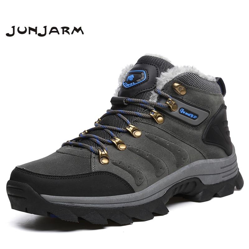 JUNJARM Men Winter Boots Super Warm Men Ankle Boots Quality Suede Snow Boots Men Fur Plush Outdoor Walking Shoes Plus Size 47
