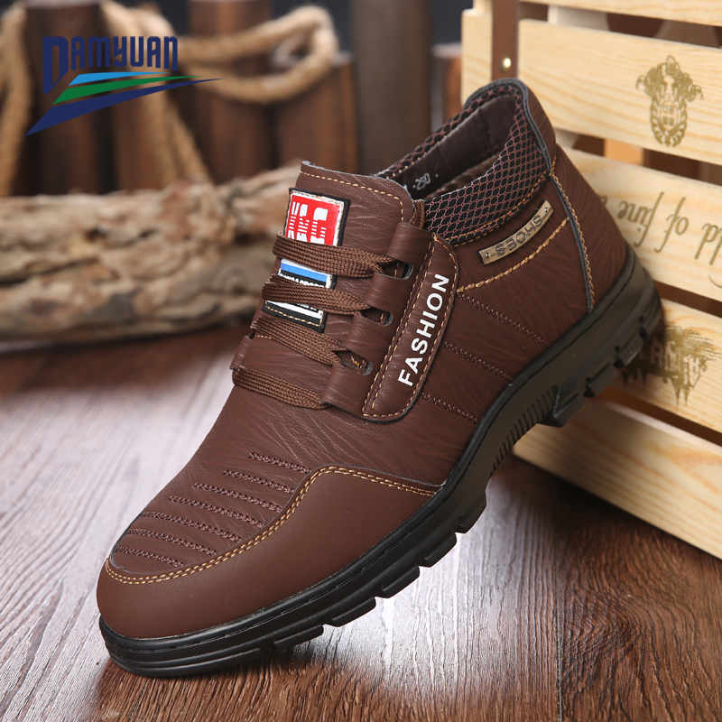 Shoes Men Cowhide-Sneakers Non-Slip Comfortable Waterproof Genuine-Leather Damyuan Hot-Sale