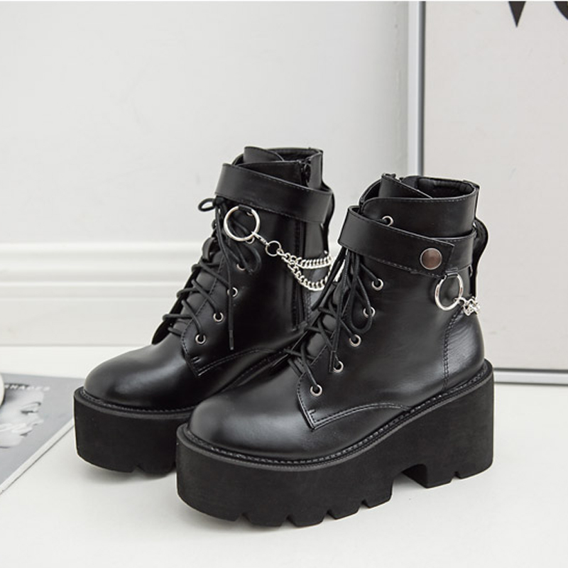 New Metal Chains Chunky Platform Women's Boots Round Toe Martin Boots Women Winter Black Punk Goth Boots Women's To Reduce Body Weight And Prolong Life