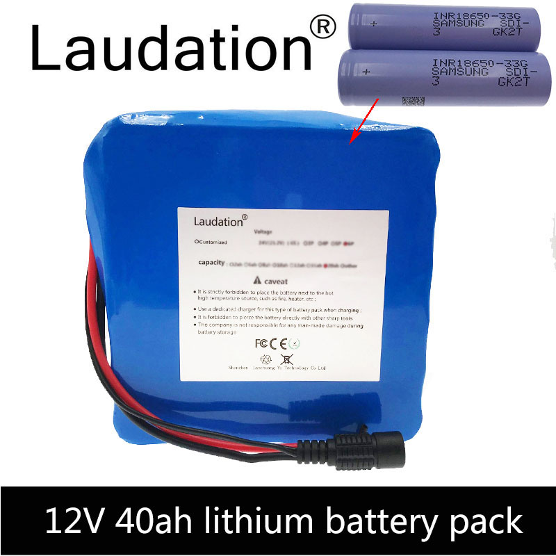 laudation 12v 40ah lithium ion <font><b>battery</b></font> 18650 <font><b>3S</b></font> 12P high capacity high quality lithium <font><b>battery</b></font> <font><b>pack</b></font> 11.1V 12.6V with 40 A B M S image