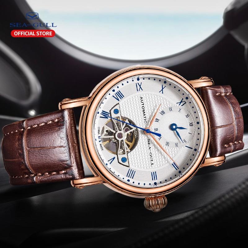 Image 4 - 海カモメビジネス腕時計メンズ機械式腕時計カレンダー 30 メートル防水レザーバレンタイン男性腕時計 519.11.6040機械式時計   -