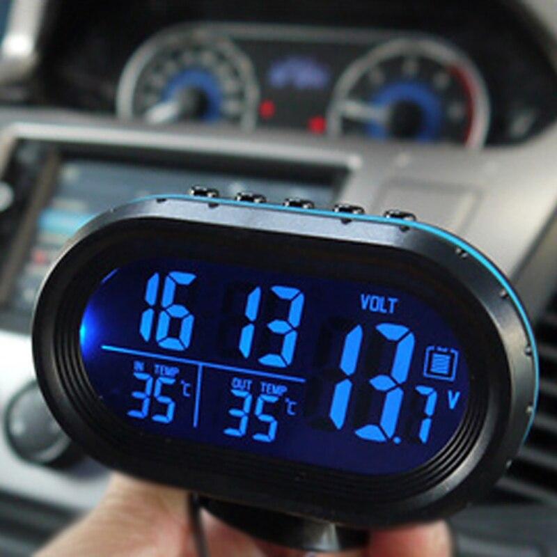 Автомобильный термометр, цифровые часы, автомобильные часы, светодиодный дисплей, двойной датчик температуры, вольтметр, тестер напряжения...