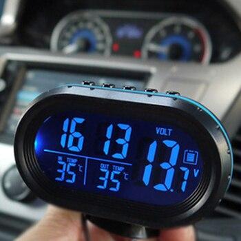 Car Thermometer Digital Clock DC12/24V Automobile LED Lighted Auto Dual Temperature Gauge Voltmeter Voltage Tester