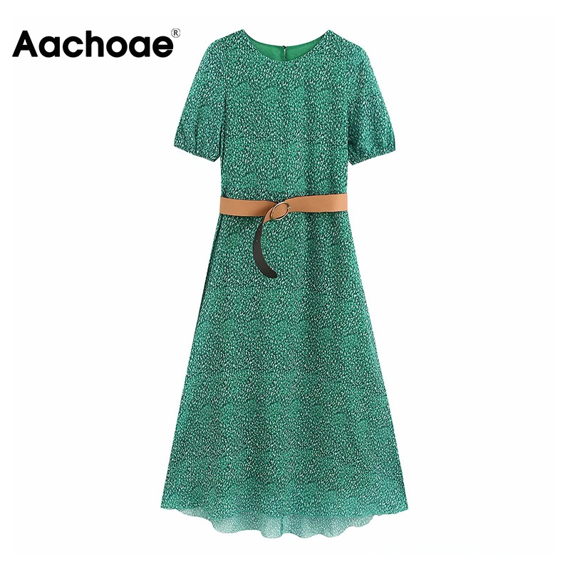 Aachoae Print Dress With Belt O Neck Lantern Short Sleeve Chiffon Dresses Ladies Plus Size Casual Long Dress Female Robe Femme