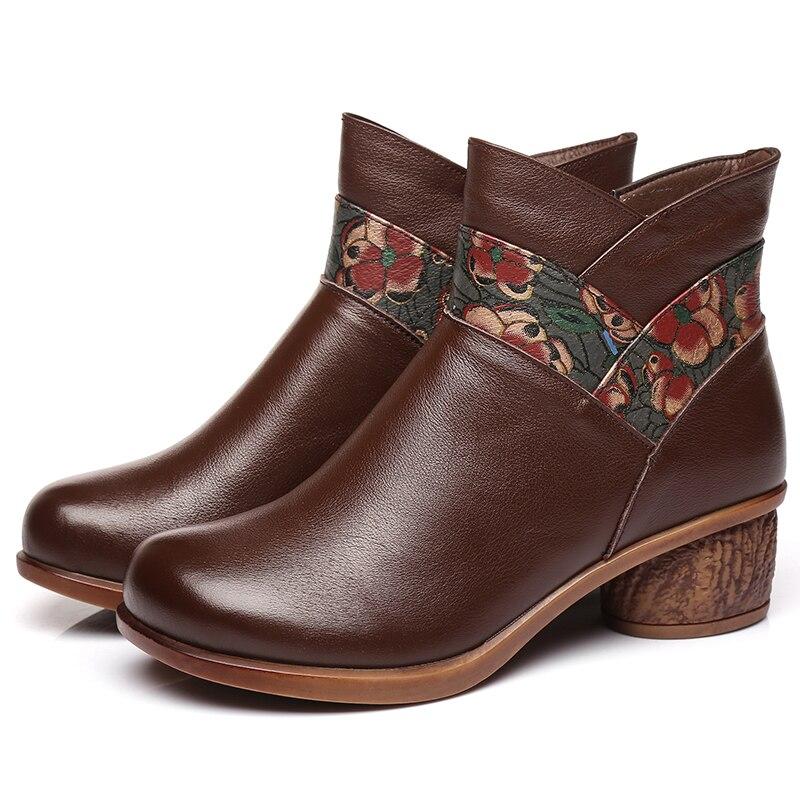 Botas de couro feminino botas de inverno sapatos quentes bordados sapatos retro salto baixo martin botas de couro artesanal botas de tornozelo marrom 2019 - 4