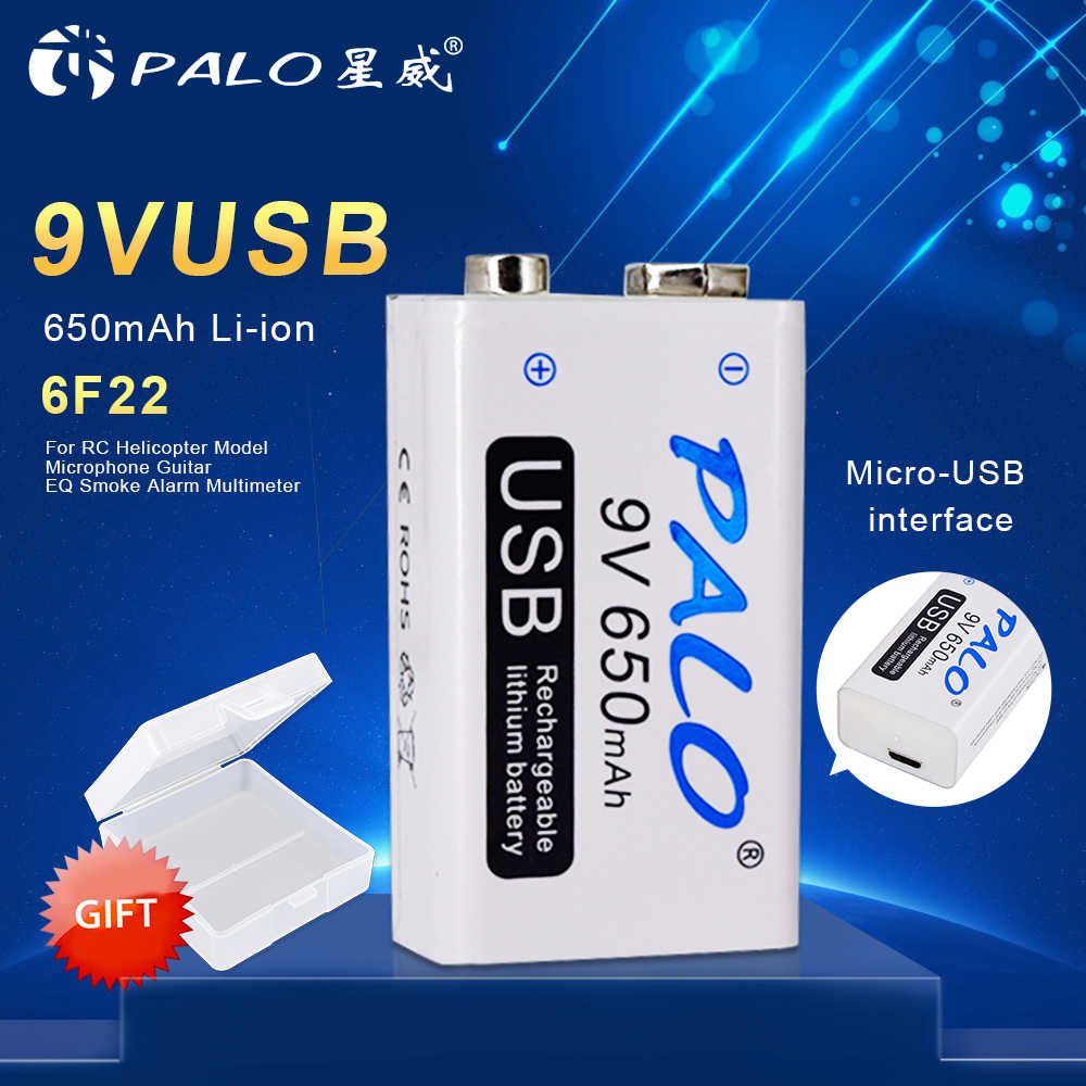 16~30pcs PALO 9V Rechargeable Li-ion Battery 650mAh USB Portable Micro USB Batteries For RC Helicopter Model Microphone Bateria