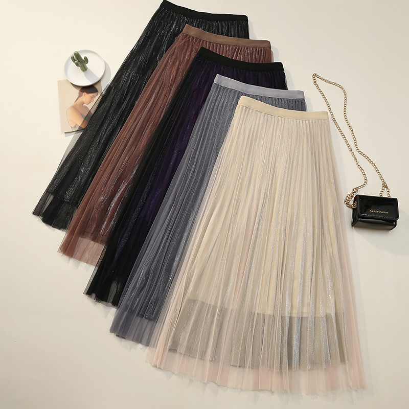 [Attachment] Liangsi Lining Double Tulle Lace Dress 2019 Korean-style New Style High-waisted Slimming Mid-length Pleated Skirt